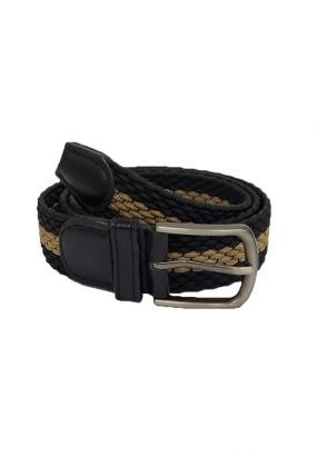 WOVEN WALBERG STRIPE BELT- (BLACK)