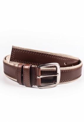 Mixed material belt-Brown