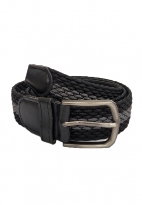 WOVEN WALBERG STRIPE BELT- (GREY)