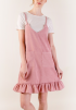 Chambray Ruffle Dress- Pink