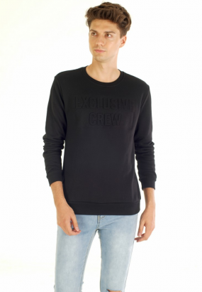 Exclusive Crew Pop Up Sweatshirt- Black