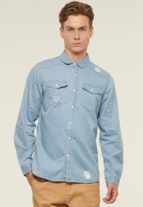 Casual Long Sleeve Shirt with Ripped Details- Blue