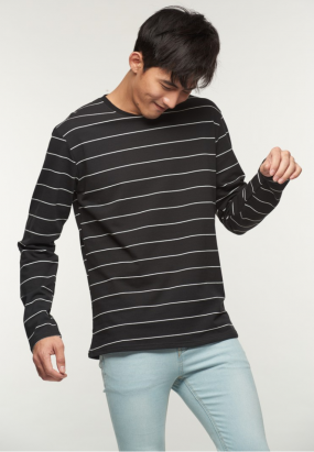 Stripe Long Sleeve Tee- Black