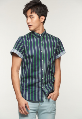 Stripe Short Sleeve Shirt - Khakis