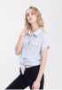 Button Down Short Tie Shirt- Blue
