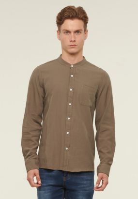 Mandarin Collar Long Sleeve Shirt - Green