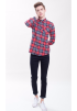 Checkered  Long Sleeve Shirt -Red