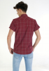 Grid Check Short Sleeve Shirt- Maroon