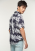 Leaf Foil Print Short Sleeve Shirt - Navy