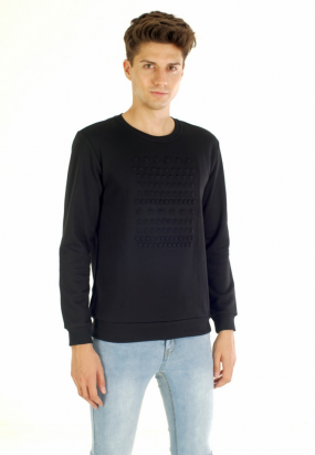 Geometric Pop Up Sweatshirt- Black
