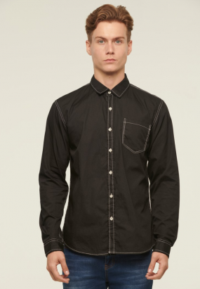 Contrast Stich Long Sleeve Shirt - Black