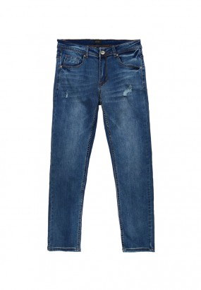 Washed Denim Ripped Jeans- Blue