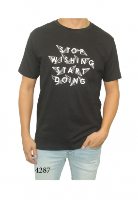 STOP WISHING START DOING TEE- BLACK