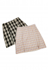 Oxford Print Check Skirt - PURPLE