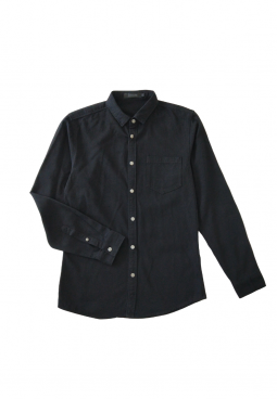 POCKET LONG SLEEVE SHIRT - BLACK