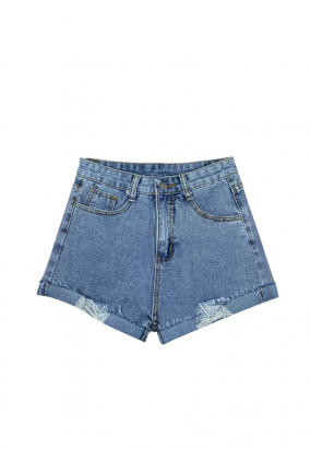 Classic Denim Ripped Hem Short - Light Blue