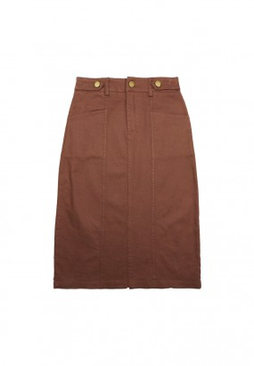 Cotton midi skirt- Brown