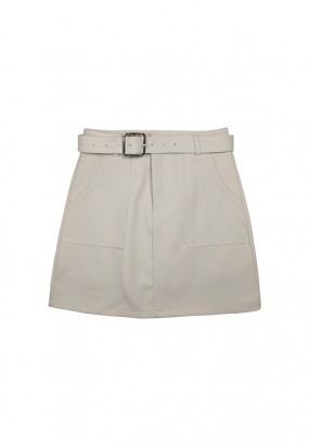 Pockey details mini skirt- Beige