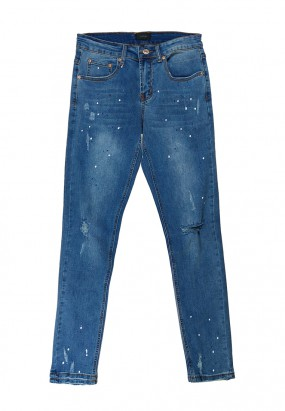 Spray Denim Ripped Jeans- Blue