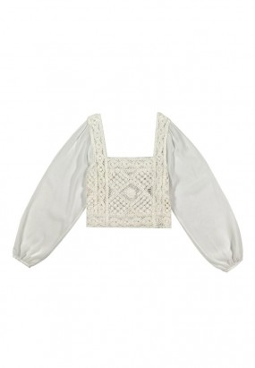 Square Shoulder Puff Sleeve Blouse- WHITE
