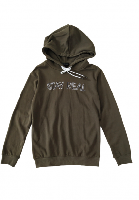 STAY REAL Hoodie- Army green