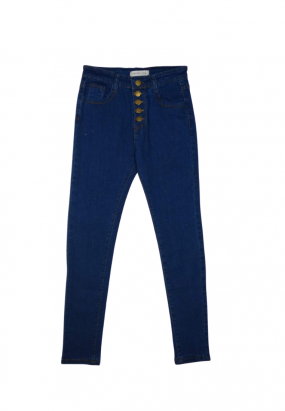 BUTTON DESIGN LONG JEANS- BLUE
