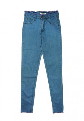 RAW HEM SLIM FIT JEANS- BLUE