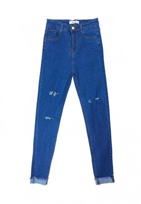 RIPPED SLIM FIT JEANS- BLUE