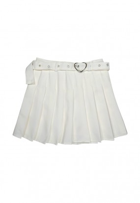 Flare Mini Skirt with Free Belt- White