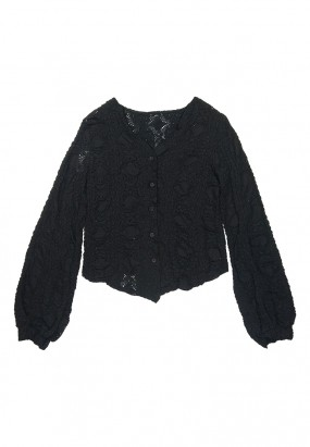 Button Details Lace Blouse- BLACK