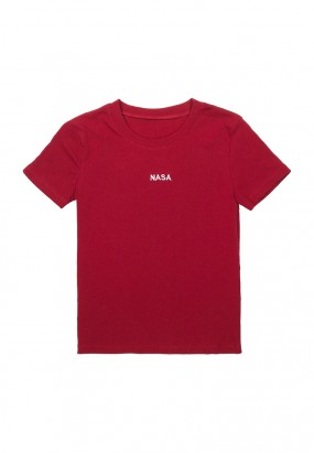 NASA Embroideries Slim Fit Tee - MAROON