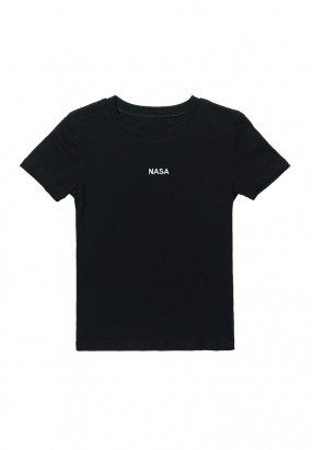 NASA Embroideries Slim Fit Tee - BLACK