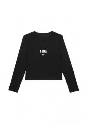ROMA print Long Sleeve Tee - BLACK