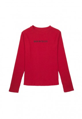 Back Into City Long Sleeve Knitwear - MAROON