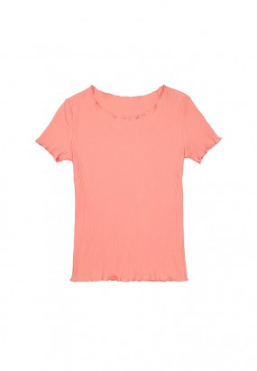 Colour ruffle knit top- PINK