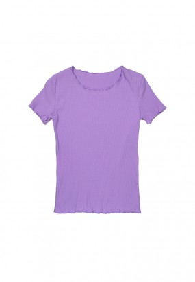 Colour ruffle knit top- PURPLE