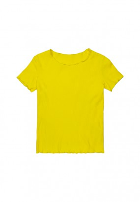 Colour ruffle knit top- YELLOW