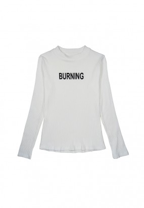 Burning Long Sleeve Knitwear - White