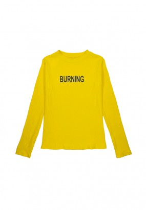 Burning Long Sleeve Knitwear - Yellow