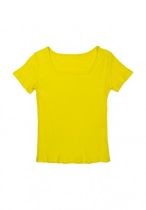 Colour knit top- YELLOW