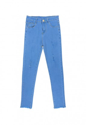 Ripped Slim Fit Jeans- Light Blue