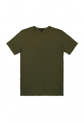 DRUM Details Stiched Colour Tee- Army Green