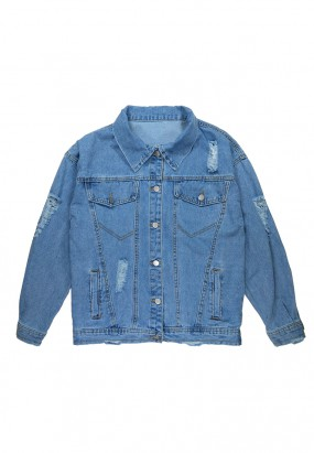 Denim Ripped Oversized Jacket- Light Blue