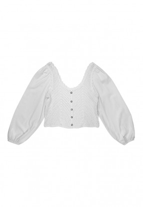 Knitted Details Blouse - WHITE