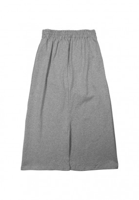 Cotton Skirt with back slit- GREY