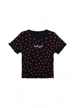 Strawberry Print Knit Top- Black