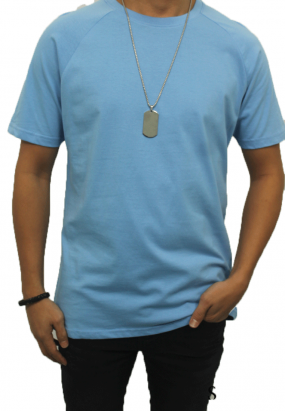DRUM RAGLAN DETAILS TEE- LIGHT BLUE