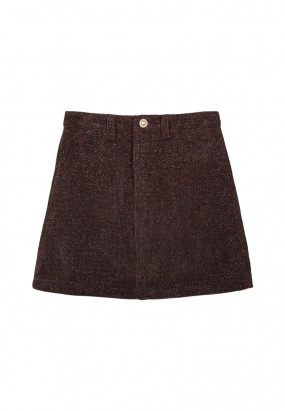 Cotton mini skirt- Brown