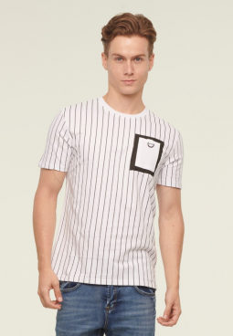 Stripe Pocket Printed Tee- White