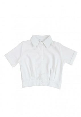 SHORT SLEEVE BUTTON BLOUSE - White